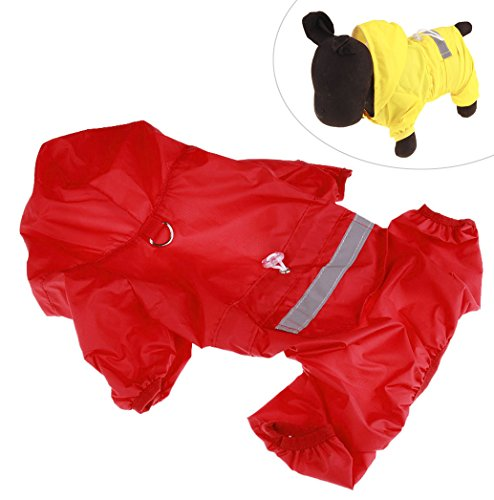 Xiaoyu Adjustable Pet Dog Waterproof Jumpsuit Raincoat Jacket with Safe Reflective Strips, Red, M