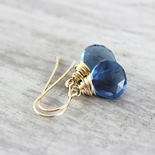 Dark Blue Quartz Gold Filled Dangle Earrings