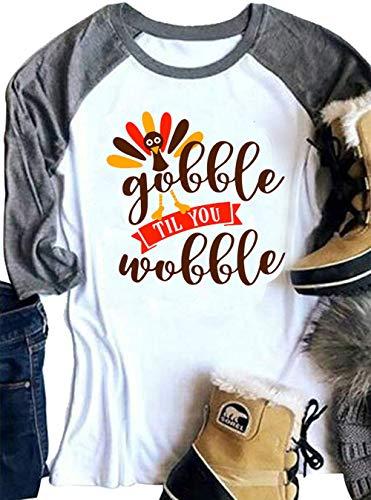 YUYUEYUE Gobble Til You Wobble Funny Thanksgiving Shirt Women 3/4 Sleeve Raglan T-Shirt Turkey Top (Medium, -