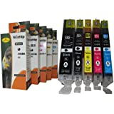 5 Cartuchos de tinta XL con chip integrado y indicador de nivel de tinta compatibles con CANON Pixma ip 7250 8750 ; Canon Pixma MG 5450 5550 6350 6450 7150 ; Canon Pixma MX 725 925 / Canon Pixma ix 6850 Corresponden a los cartuchos 1x Canon PGI-550PGBK XXL Black, 1x Canon CLI-551BK XL photoblack, 1x Canon CLI-551C XL Cyan, 1x Canon CLI-551M XL Magenta, 1x Canon CLI-551Y XL yellow