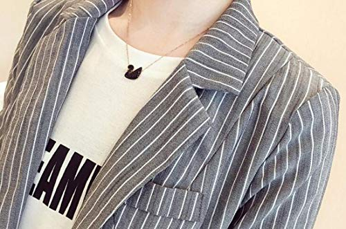 Domple Womens Autumn Outwear Stripe Lapel Slim One-Button Blazer Coat Aspic US S by Domple (Image #3)'