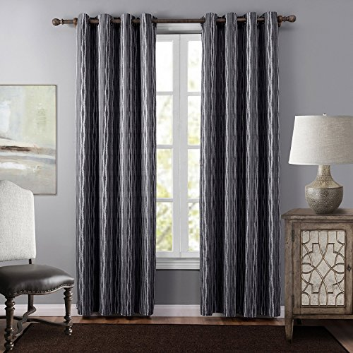 Cheap Leyden (1 Panel) Thermal Insulated Grommet Top Striped Jacquard Curtains / Drapes for Bedroom( 52 wide x 84-inch length, Gray)