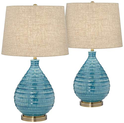 Kayley Modern Table Lamps Set of 2 Coastal Ceramic Sky Blue Glaze Linen Fabric Drum Shade for Living Room Family Bedroom - 360 Lighting