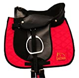 Pony Hide Covered Pony Pad Set with All Accessories Also for Wood Horses Saddle Black 10'
