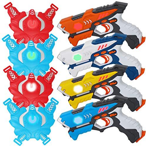 Mini Horse Infrared Laser Tag Set 4 Guns 4 Vests - Indoor Outdoor Laser Gun Kit Toy for Girl & Boy Laser Tag Game Set Best Gift Boys Girls(Laser Guns)