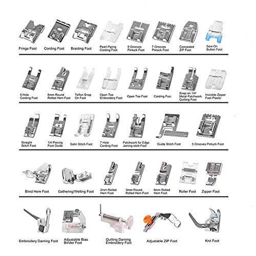 Kit de prensatelas para máquina de coser, piezas de repuesto y accesorios para máquinas Brother o Singer (Set de 36 Piezas): Amazon.es: Hogar