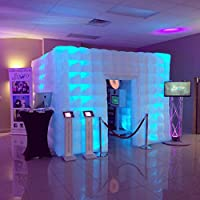 Stagerbooth® Inflatable Portable Photo Booth Enclosure with 16 Colors LED Changing Lights and Inner Air Blower for Weddings Parties Promotions Advertising (one door)