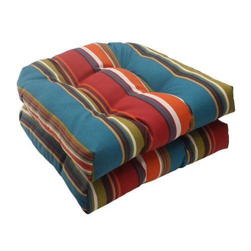 Set of 2 Moroccan Multi-color Striped Outdoor Tufted Wicker Seat Cushions 19