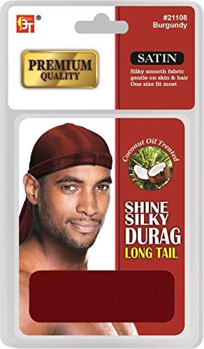 - Beauty Town Premium Quality Satin Shine Silky Durag Long Tail Burgundy #21108