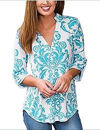 Simaier Women's Shirts V-Neck Shirt 3/4 Sleeve Tops Casual Floral Print