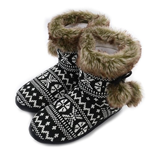 Millffy Nordic style Faux Furr Boot Memory foam home shoes Ladies Knit Sherpa bedroom shoes (US 7/8, Blue) - Nordic Kids Boots