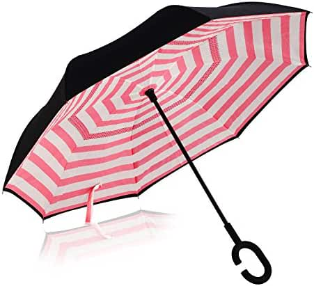 Double Layer Wind Proof,UV Proof Reverse Folding Inverted Umbrella Travel Umbrella with C Shape Handle and Carrying Bag-Pink Stripe
