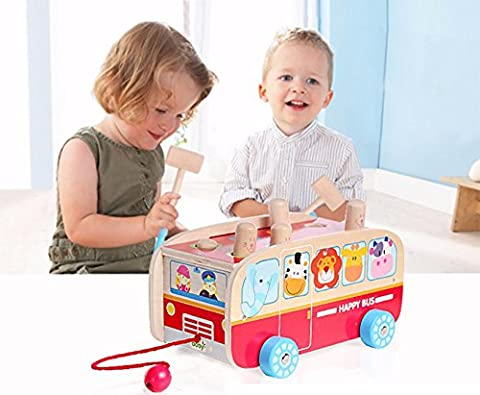 Exciting Animal Bus Pounding Bench with Pull along String - For Toddlers and Preschool - By Kids Destiny