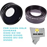 52mm Wide Angle Macro Lens + 2.2x Optical Telephoto Zoom for Nikon D3000 D3100 D3300 D500 D5100 D5200 D5400 D5500