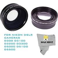 52mm Wide Angle Macro Lens + 2.2x Optical Telephoto Zoom for Nikon D3000 D3100 D3300 D500 D5100 D5200 D5400 D5500