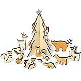 Calendario dell' Avvento Winter Wood Land–con piccole bemalten legno Animali, Abete albero con stella. Von Meri Meri