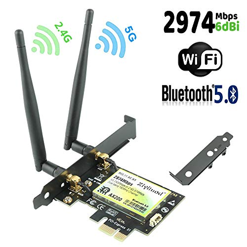 Ziyituod WiFi 6 Card, AX2974Mbps Wireless Network Card, 802.11ax PCIe WiFi Card with Bluetooth5.0, 2X2 Dual-Band(2.4GHz 574Mbps / 5GHz 2400Mbps) for Desktop, Support Windows 10 64bit,Chrome OS,Linux