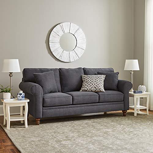 "Ravenna Home Randall Rolled Arm Sofa, 83""W, Slate Blue"