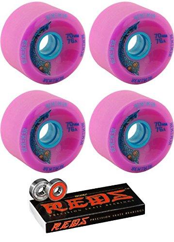 粒子法医学鷹70 mm Remember the Hoots Longboard Skateboard Wheels with Bones Bearings – 8 mm Bones Reds Precisionスケート定格スケートボードベアリング – 2アイテムのバンドル