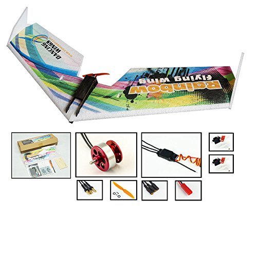 DW Hobby Upgrade 3CH EPP Electric Micro Flying Wing Rainbow V2 ZAGI Plane w/800mm Wingspan Delta Wing Tail-Pusher Flying Aircraft Kit to Build for Adults (E0514)