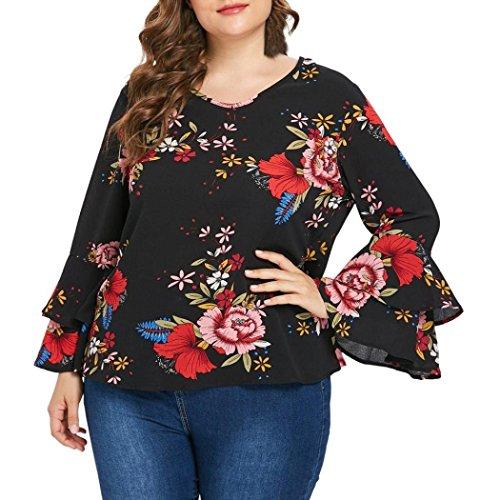 ❤️ Trumpet Sleeve Top, Clearance Plus Size Women's Bell Sleeve Loose Polka Flower Shirt Ladies Casual Blouse Tops Flower Print Long Sleeve Duseedik ()