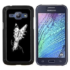 "Be-Star Único Patrón Plástico Duro Fundas Cover Cubre Hard Case Cover Para Samsung Galaxy J1 / J100 ( Guitarra Música Minimalista Negro Blanco"" )"