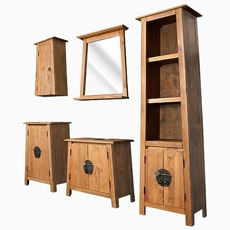 vidaXL Set Muebles Cuarto Baño Madera 5 Pzas Mobiliario ...