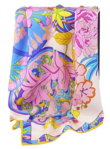 Grace Scarves 100% Silk Scarf With Hand Rolled Edges, Large, Circle Of Flowers, Pink ()