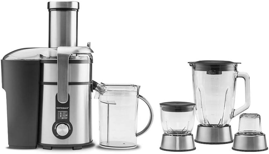 GASTROBACK #40152 Design Multi Juicer Digital Plus 4 en 1: Licuadora centrífuga, Batidora de pie, picadora rápida y molinillo de café, 1300 W, 5 niveles
