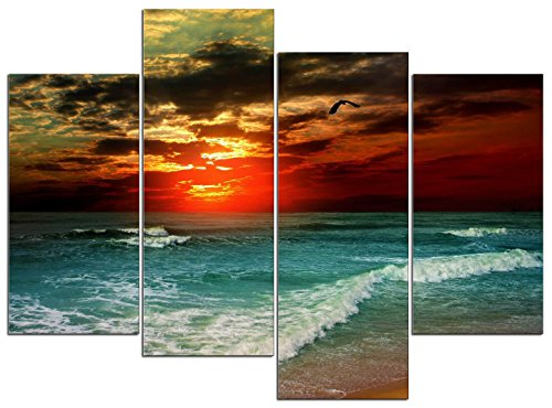 Wieco Art Cloudy Sea 4 Piece Seascape Canvas Paintings Wall Art Large Modern Stretched and Framed Ocean Beach Giclee Canvas Prints Artwork Pictures Ready to Hang for Living Room Home Decorations L