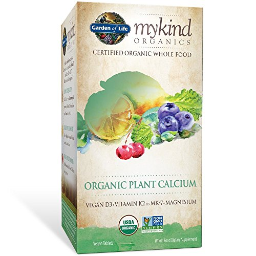 Foods Calcium - Garden of Life mykind Organic Plant Calcium - Vegan Whole Food Supplement with D3 and K2, Gluten Free, 180 Tablets