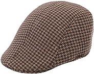 Men and Women Vintage Classic Plaid Herringbone Flat Cap Ivy Gatsby Newsboy Cabbie Driving Winter Hat