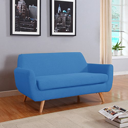 CANMOV Reclining Loveseat, Soft Warm Microfiber Velvet RV Living Room Chair, Manual Recliner Sofa 2 Seater with Padded Headrest and Back, Blue