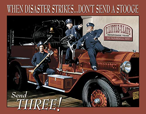 Desperate Enterprises The Three Stooges Fire Department Tin Sign, 16
