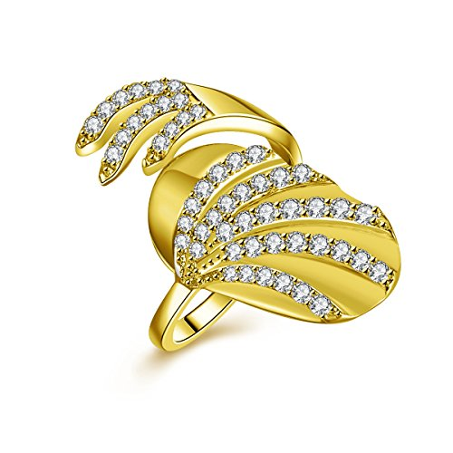 IcedJewels 0.83 cttw Round CZ 14K Yellow Gold Nail Finger Tips Ring, 7 (Yellow Gold Nail 14k)