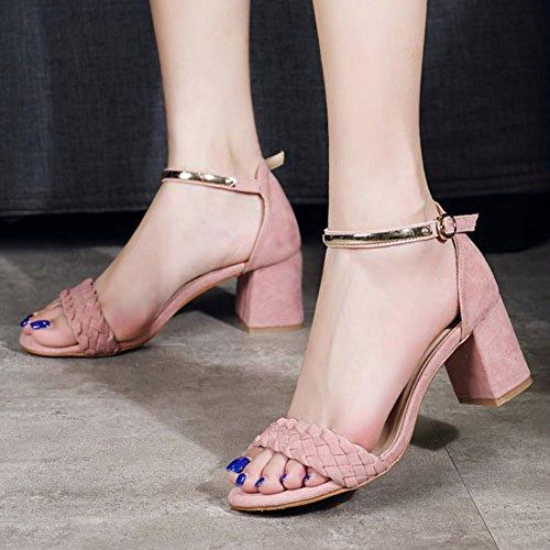 COOLCEPT Mujer Moda Al Tobillo Sandalias Punta Abierta Tacon Ancho Zapatos Rosado