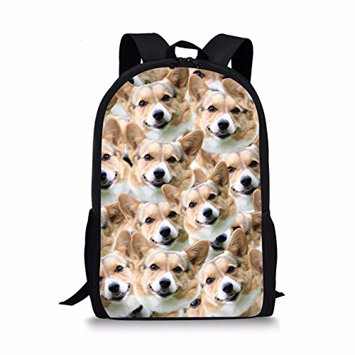 Bigcardesigns Kids Corgi Print Backpack Schoolbag Book Bag Teenagers