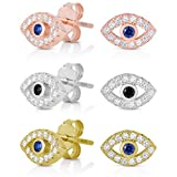 Spoil Cupid 925 Sterling Silver Cubic Zirconia with Cobalt Blue Glass Center Stone Mini Evil Eye Stud Earrings