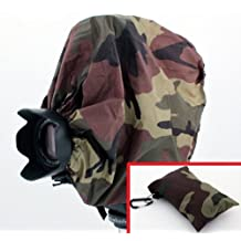 "Woodlands Camouflage Camera Rain Cover + Storage Pouch for cameras with lens combinations up to 13"""" long. For use with Rangefinder SLR Cameras including: Leica M1 M2 M3 M4-2 M5 M6 TTL M7 MP M8 ---&--- Contax G1 G2"