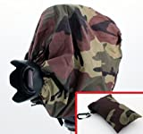 "Woodlands Camouflage Camera Rain Cover + Storage Pouch for cameras with lens combinations up to 13"" long. For use with Medium Format Cameras including: Bronica ETR ETRS ETRSi SQ-Ai GS-1 ---&--- Mamiya 645ZD M645 RB67 RZ67 Pro 645 S ---&--- Hasselblad 201 205 500 501 503 553"