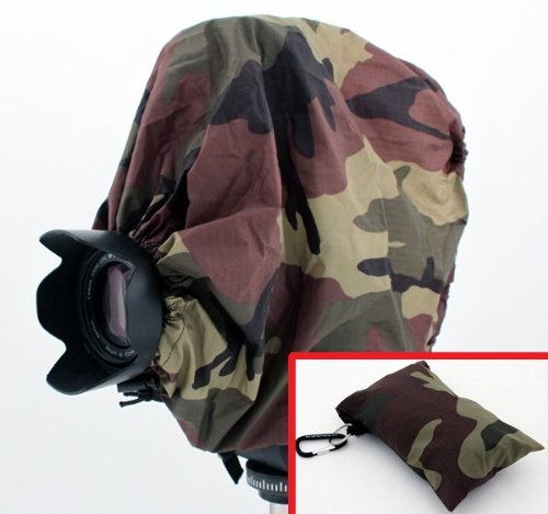 (Woodlands Camouflage Camera Rain Cover + Storage Pouch for cameras with lens combinations up to 13