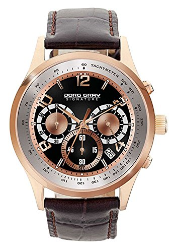 Jorg Gray JS0120 Black Rose Gold Dial Brown Leather Strap Men's Watch by Jorg Gray