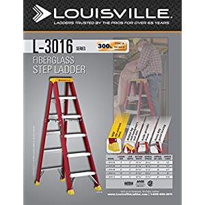 Louisville Ladder L-3016-04 300-Pound Duty Rating Fiberglass Stepladder, 4-Feet