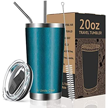 Umite Chef 20oz Tumbler Double Wall Stainless Steel Vacuum Insulated Travel Mug with Lid, Insulated Coffee Cup, 2 Straws, for Home, Outdoor, Office, School, Ice Drink, Hot Beverage (20 oz, Blue Green)