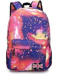 Fansela(TM) Unisex Vintage Galaxy Canvas Backpack School Bag