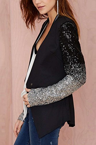 Les Costume Bouton Femmes Veste Paillettes Patchwork Bureau Col Black Occasionnelle Outcoat De Blazer trqp4dwr
