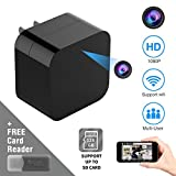 New Wireless WiFi Hidden Spy Camera HD 1080P Motion Detection Camera USB Phone Wall Charger AC Adapter HD Wireless IP Camera Mini USB Camera Home Security Support iOS/Android Without Memory Card