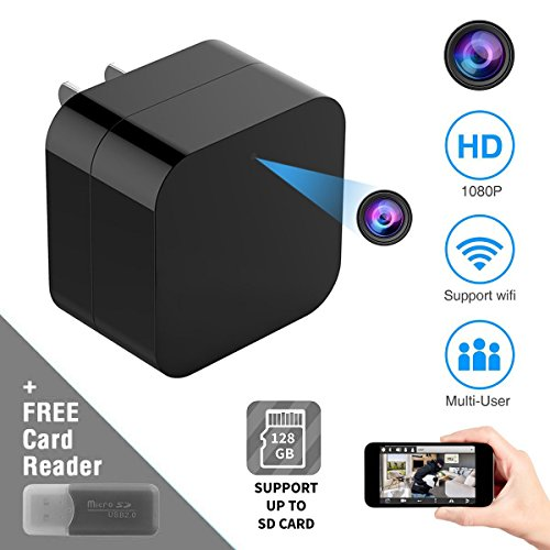 New Wireless WiFi Hidden Spy Camera HD 1080P Motion Detection Camera USB Phone Wall Charger AC Adapter HD Wireless IP Camera Mini USB Camera Home Security Support iOS/Android Without Memory Card by BINGKERS