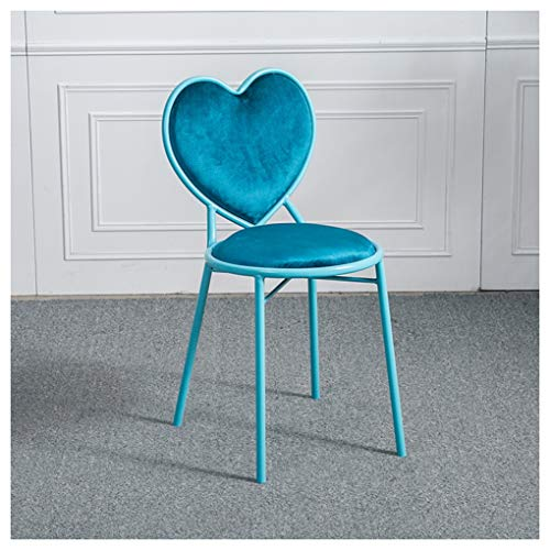 HW.Q Heart-Shaped Wrought Iron Bar Chair Wire Chair Makeup Chair Outdoor Balcony Lounge Dining Garden Computer Chair (Color : Blue) (Precision Desk Height Swivel Chair)