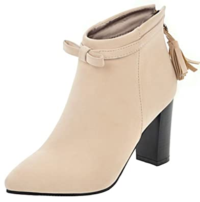 Women's Sexy Fringes Bows High Block Heels Pointed Toe Faux Suede Ankle Boots With Zipper